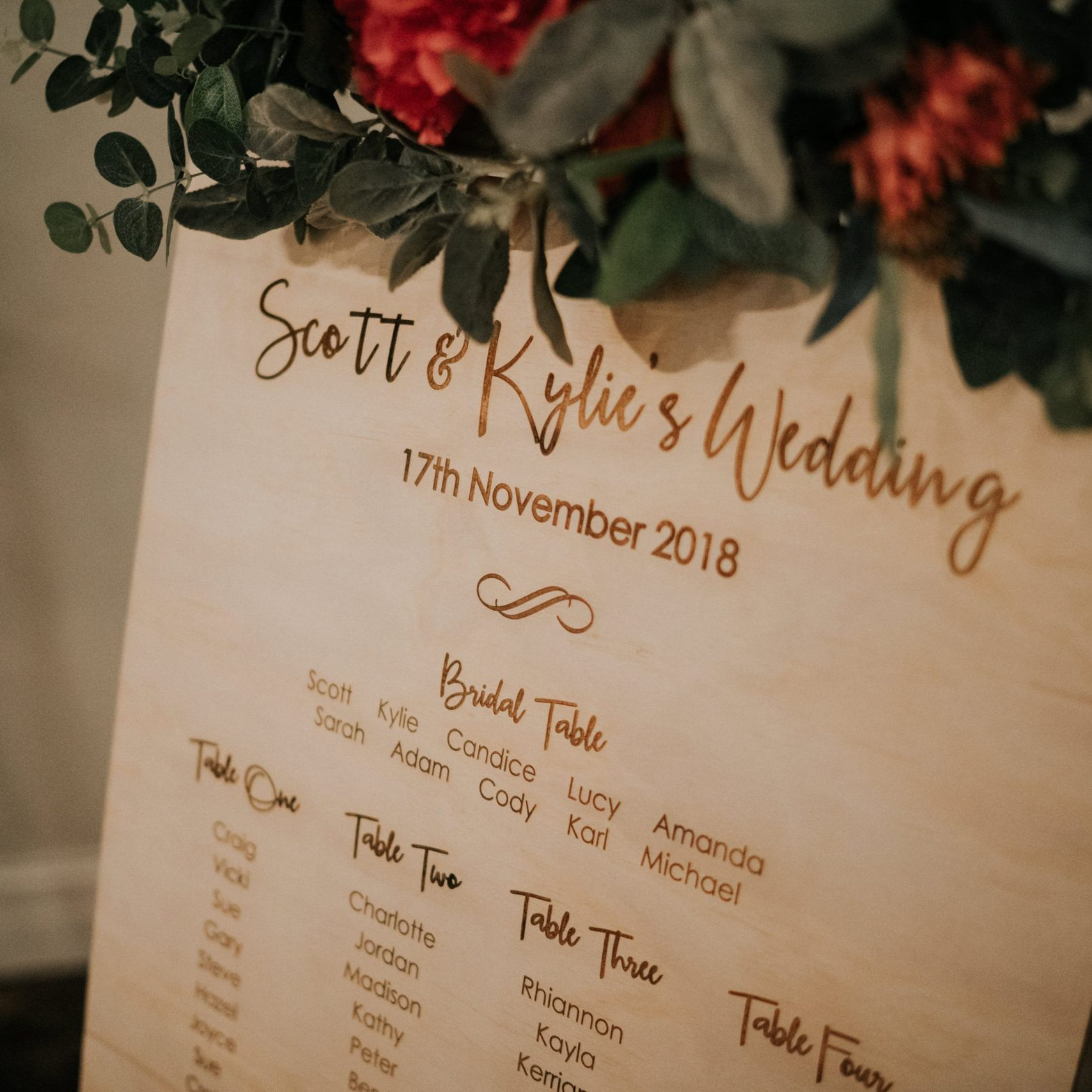 Wooden Engraved Table Seating Chart