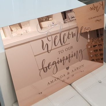Rose Gold Mirror Acrylic Engraved Welcome Sign