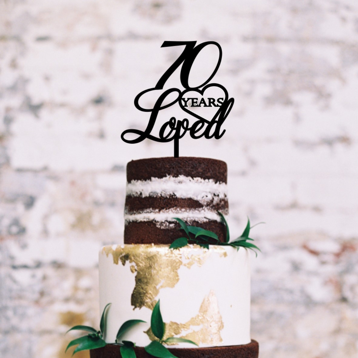 Quick Creations Cake Topper - 70 Years Loved