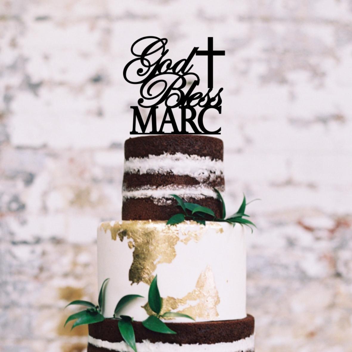 God Bless Cross Personalised Cake Topper