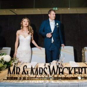 Gold Mirror Acrylic Laser Cut Bridal Table Sign