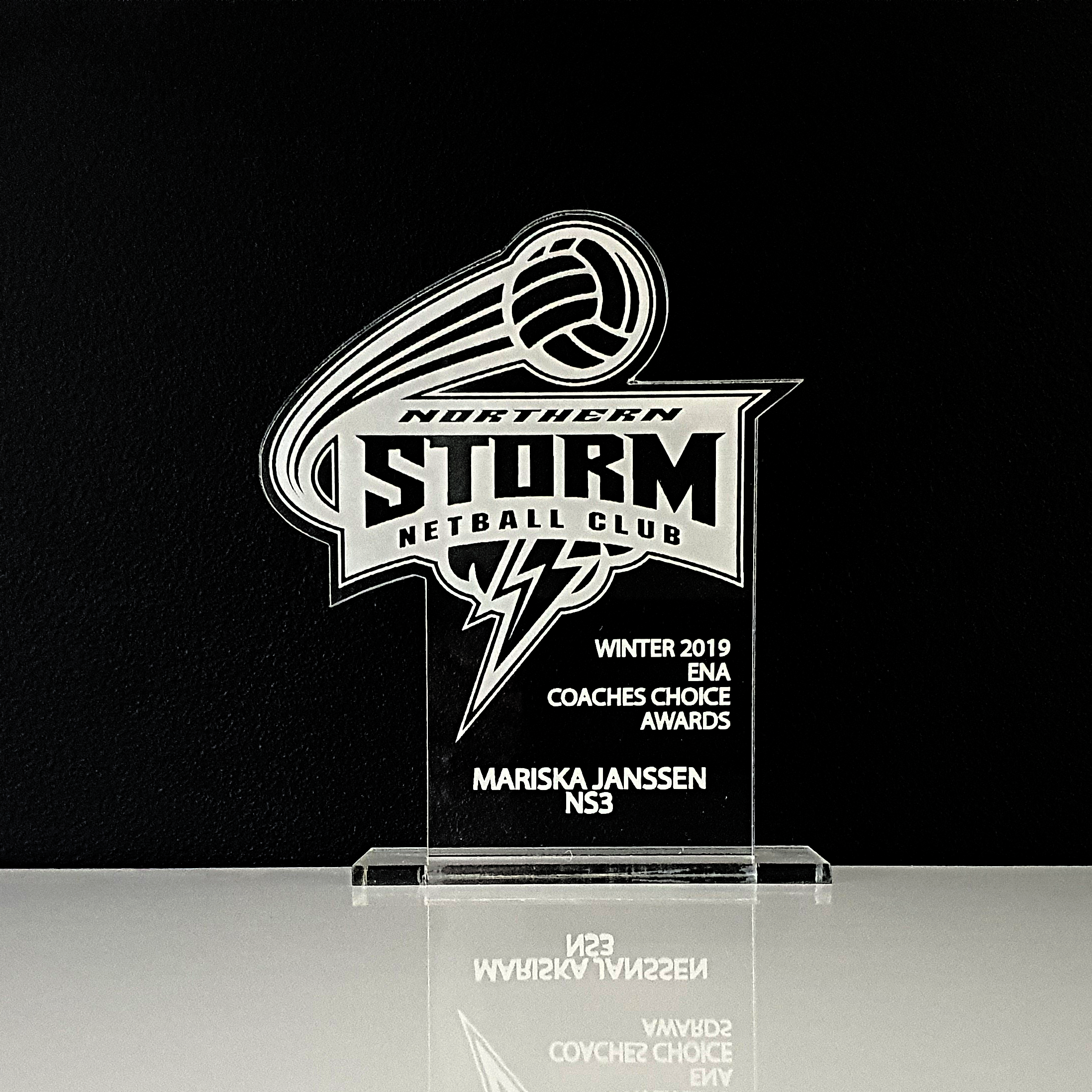 Engraved Custom Shaped Clear Acrylic SPORTING Trophy Awards