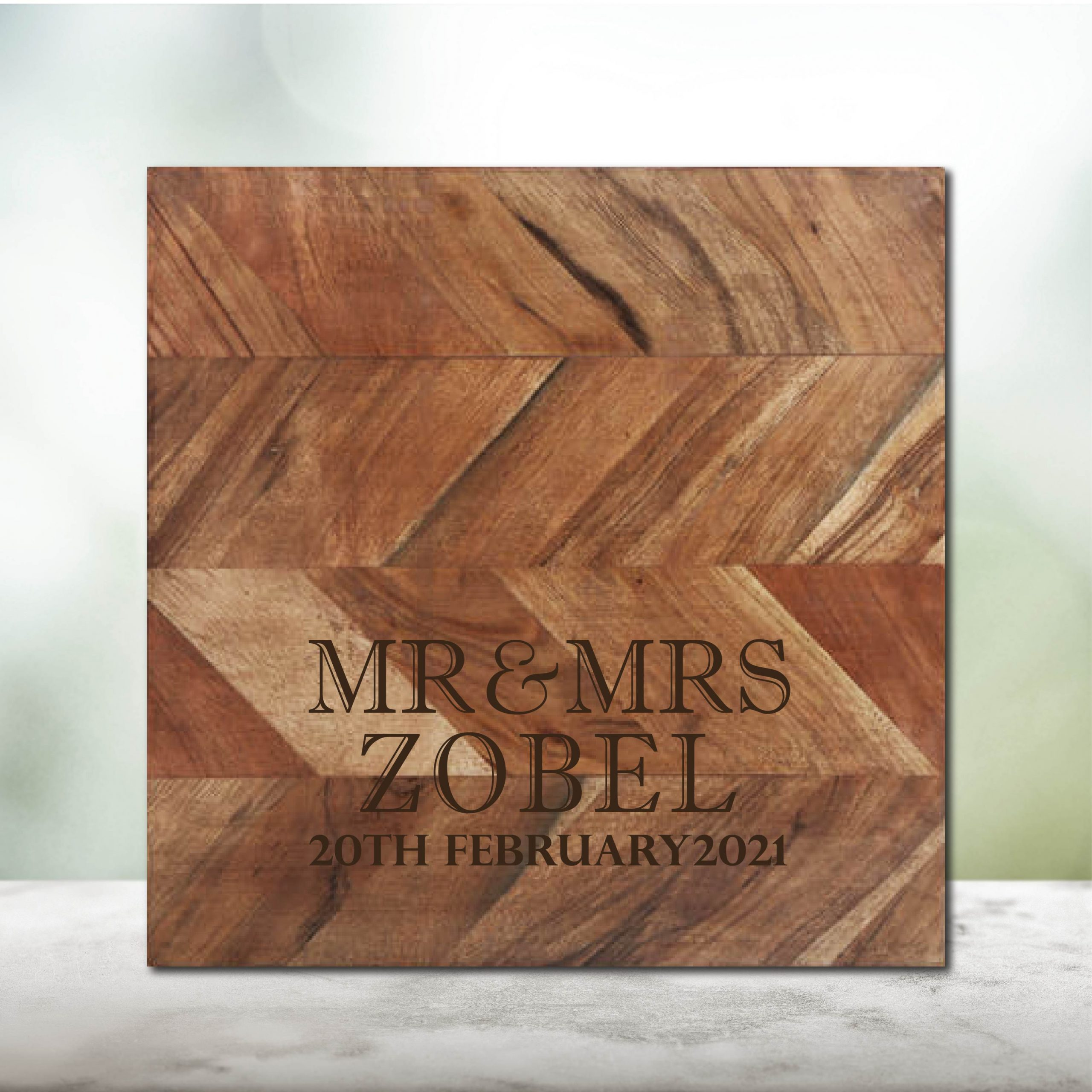 Mr & Mrs with Date Chopping Board