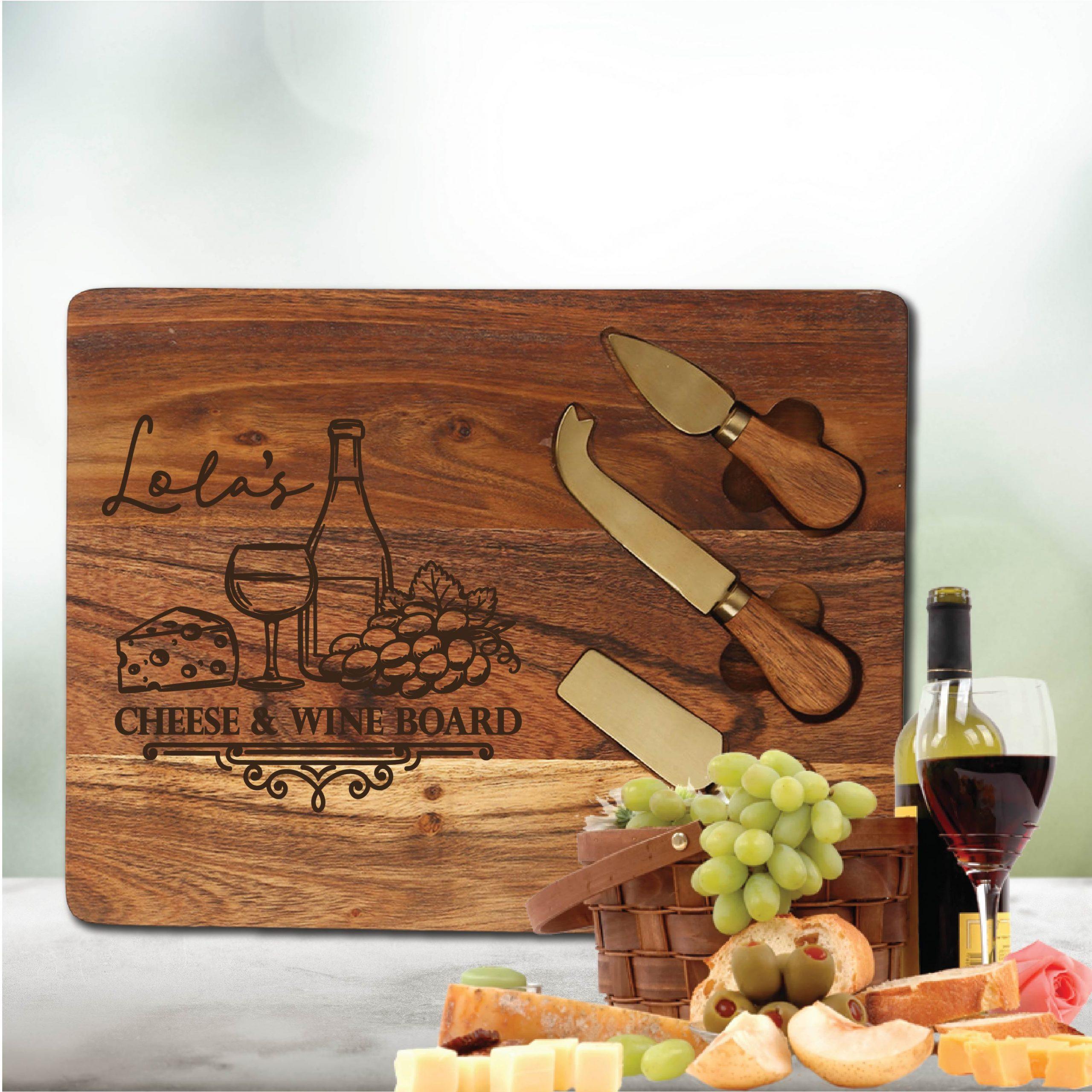 Script Name Cheese & Wine Chopping Board