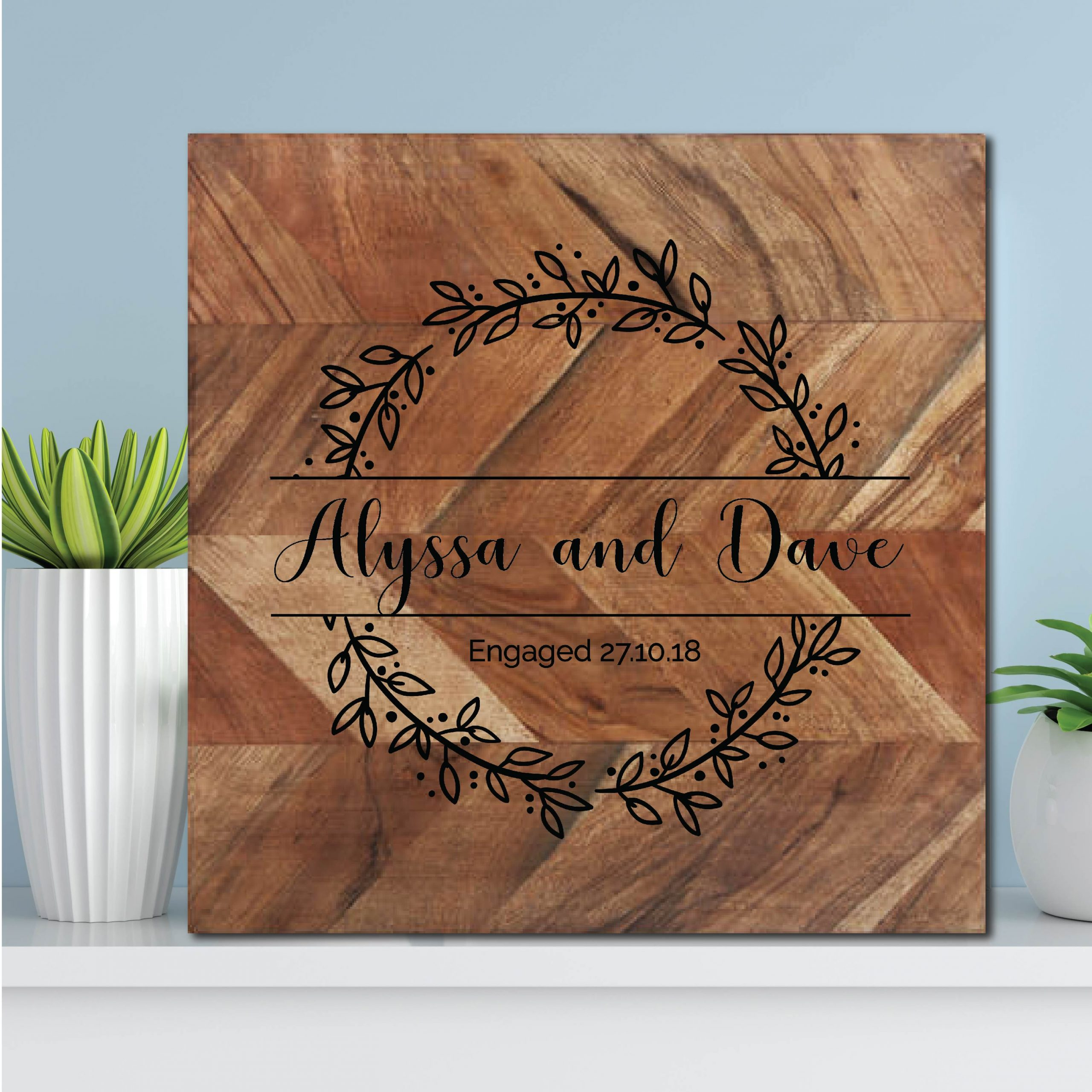 Couple Engagement Wreath Chopping Board