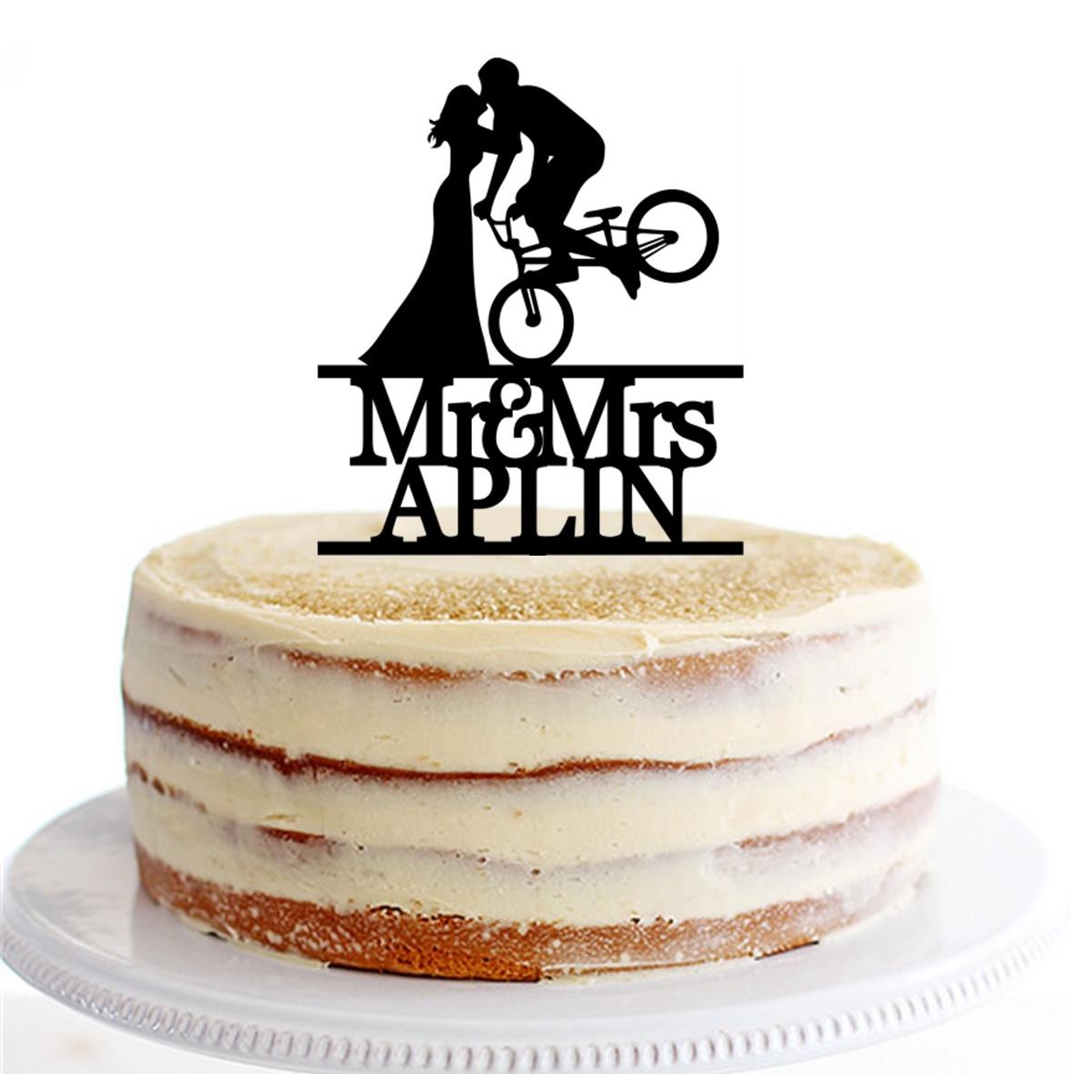 BMX Bike Bride & Groom Mr & Mrs Name Cake Topper