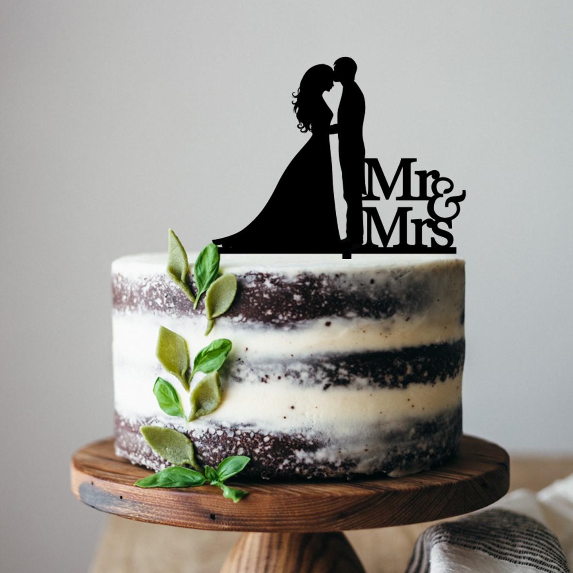 Bride & Groom Hair down Mr & Mrs Cake Topper