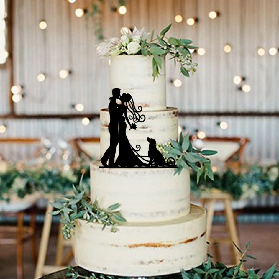 Bride & Groom Dog Cake Topper