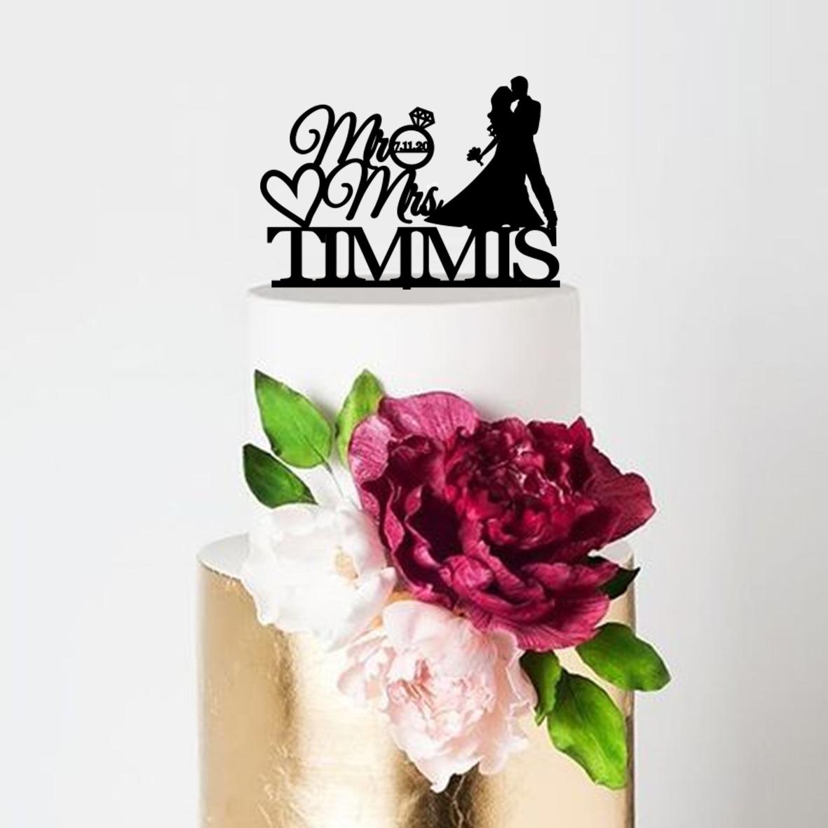 Bride & Groom Kissing Mr & Mrs Name Date Heart Cake Topper