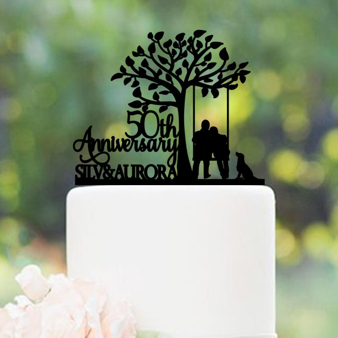 Tree Swing 50th Wedding Anniversary Personalised Cake Topper