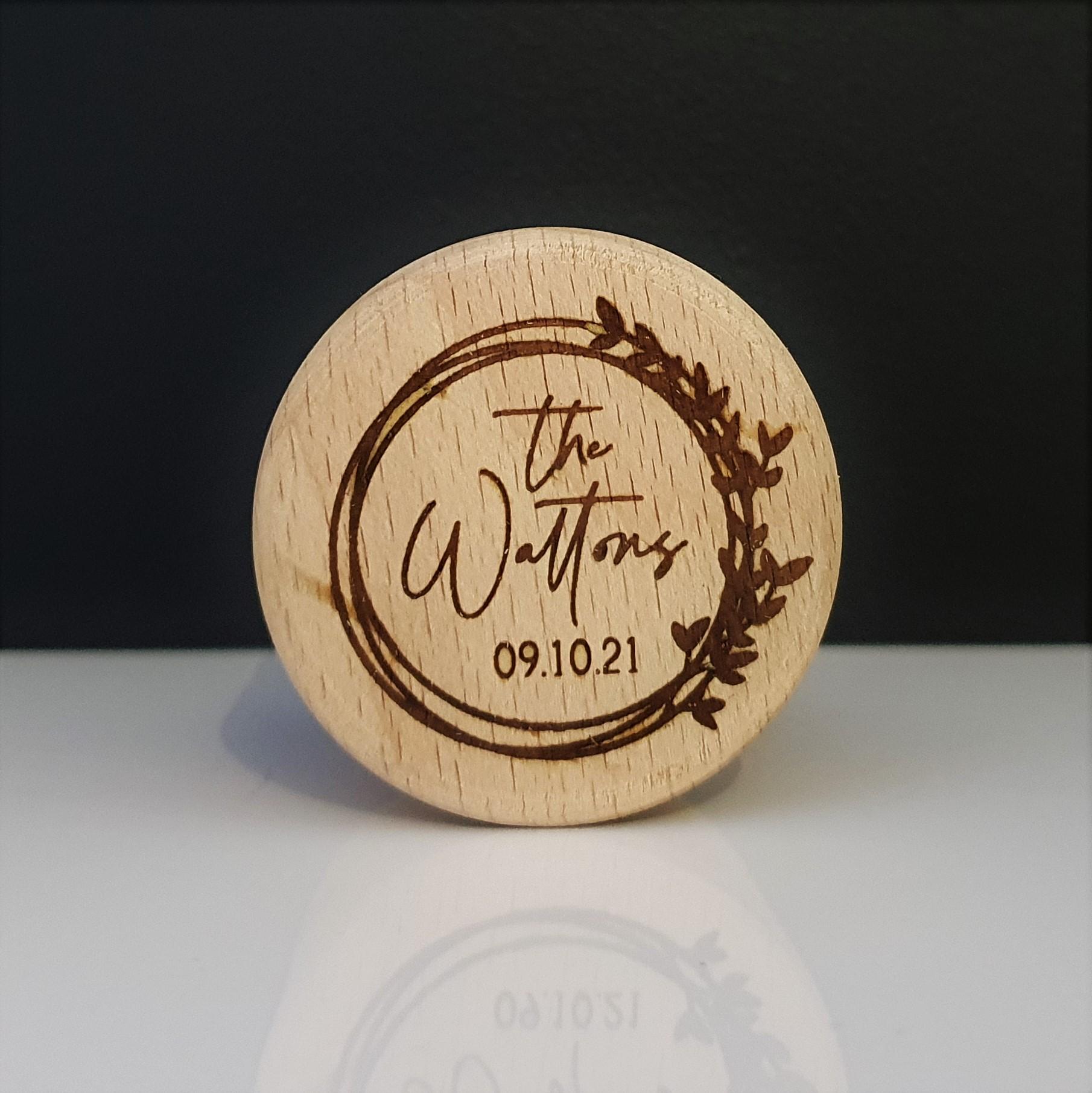 Engraved Round Wooden Wedding Ring Box